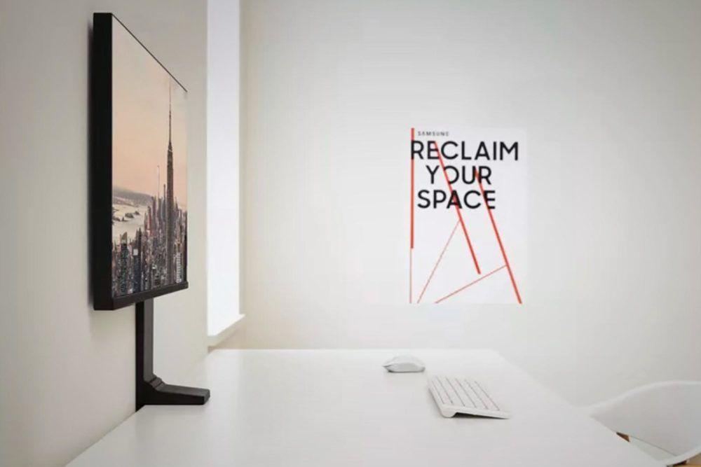 home audio video samsung space monitor against wall