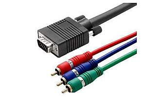 Hall Research CHD15-RGB-6 HD15 to 3-RCA Component Video (YPbPr) Cable 6ft