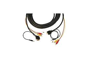 Kramer CP-MH1/MH1/XL-25 15-pin HD (M)/ 3.5mm + 3 RCA Plenum Cable/ Backshell 45 15-pin HD at one end - 25ft